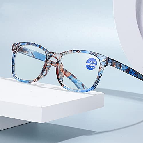 Gafas de Lectura Anti-BLU-Ray Mujer,Cómodas HD,Gafas de Lectura Ligeras,Gafas de Lectura para Personas Mayores,Gafas de Moda,Patrón Azul,Visión Clara, 1.50