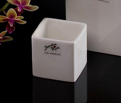 Porzellanblumentopf Cube weiß eckig 6 cm hoch Ø 6,0 x 6,0 cm von Sandra Rich