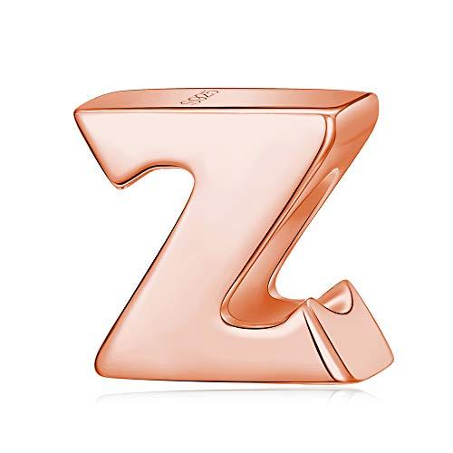 Abalorio de letra de oro rosa, plata de ley maciza, con inicial de la A a la Z Letra Z