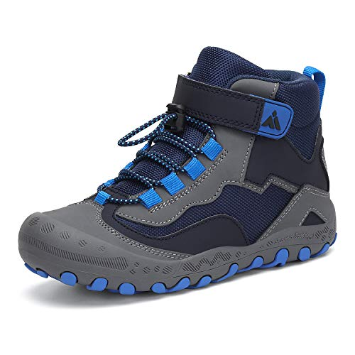 Mishansha Kids Outdoor Ankle Hiking Boots Non Slip Trekking Walking Shoes with Hook and Loop, A-Blue 3.5 Little Kid
