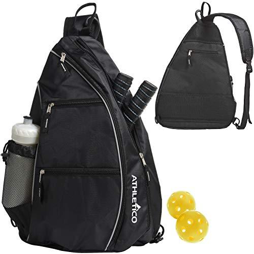 Athletico Sling Bag - Crossbody Backpack for Pickleball, Tennis, Racketball, and Travel for Men and Women (Black)