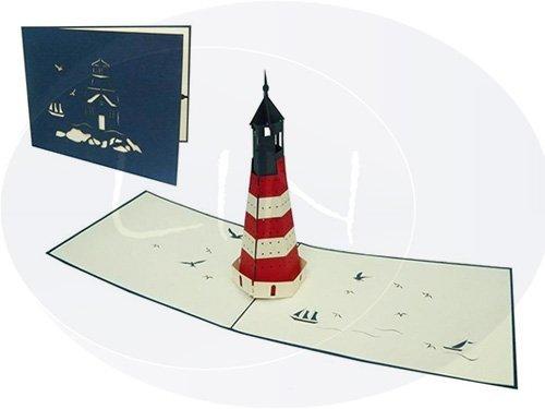LIN-POP UP 3D Karten Grußkarten, Reisegutschein Meerurlaub, Leuchtturm
