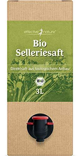 effective nature - Selleriesaft aus Bio-Stangensellerie - Ungekühlt Haltbar - Mit Praktischem Zapfhahn - Kalorienarm, Mit wertvollen Nährstoffen, Vollmundiger Geschmack - 3 Liter DIrektsaft
