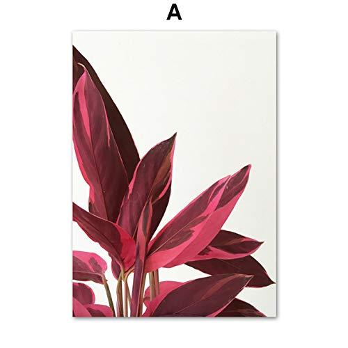 N/ A Tropische Pflanze Wandkunst Bild Kaktus Monstera Aloe Blatt rahmenloses Poster und Drucke nordische Leinwand Wohnzimmer Wohnzimmer Malerei B1 40x60cm No Frame