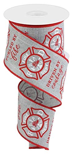 Firefighter Badge Wired Edge Ribbon - 2.5' x 10 Yards (Light Grey)
