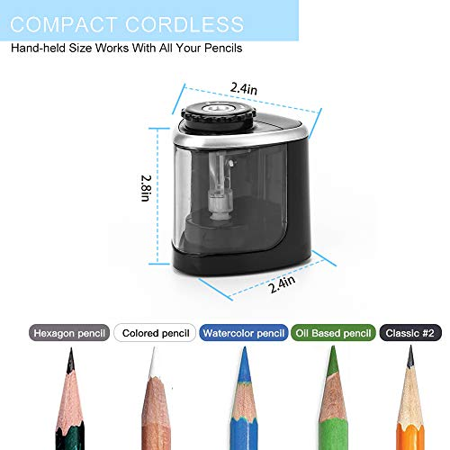 Pencil Sharpener Electric Pencil Sharpeners, Portable Pencil Sharpener Kids, Blade to Fast Sharpen, Suitable for No.2/Colored Pencils(6-8mm)/School Pencil Sharpener/Classroom/Office/Home (Black) Photo #3