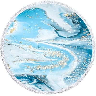 IAMZHL Toalla de Playa Redonda Grande de mármol para Adultos, Colorido, patrón de Arenas movedizas, Toalla de baño de Microfibra, Ducha, Cubierta de natación, Esterilla de Yoga-a19