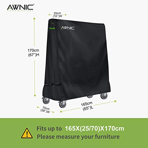 AWNIC Table Tennis Table Cover Waterproof Ping-Pong Table Cover Windproof for Outdoor TÜV Rheinland Certificated Tear Resistant 420D Polyester 165x(25/70) x170(LxWxH) cm