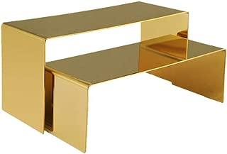 RY DISPLAY Golden Metal Shoe Handbag Display Riser Stand Stainless Steel Shoe Bag Riser Holder Jewelry Display Riser Shelf Showcase Fixtures Set of 2