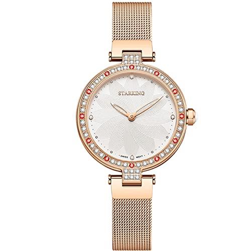 RORIOS Mujer Relojes Impermeable Analogico Cuarzo Reloj con Correa en Mesh Acero Inoxidable Reloj de Pulsera Moda Diamante Reloj para Mujeres Chica