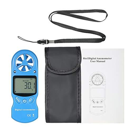 TYBXK Windmesser 8 in 1 Digital-Anemometer-Windgeschwindigkeit/Temperatur/Feuchte/Gefühlt/Hitzeindex/Taupunkt/Luftdruck- / Höhenmesser (Color : Blue)