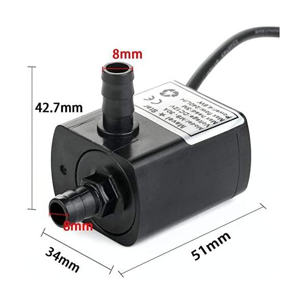12v DC Bomba de Agua pequeña, 63 GPH Mini Bomba Sumergible para enfriamiento de Agua PC, Fuente de Agua pequeña, Gota de…