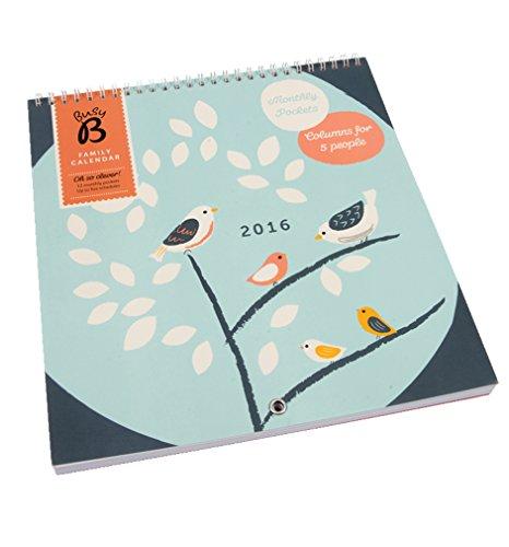 Busy B Familienkalender 2016 Vögel Ein Steckfach jeden Monat für Briefe, Einladungen, Karten und wichtige Notizen Platz für bis zu fünf Terminpläne, blau