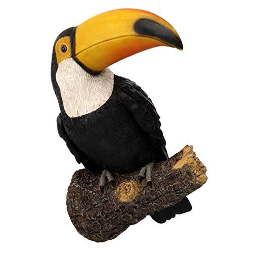 Angoily Estatuilla de Pájaro de Jardín Estatua de Pájaro Tucan Realista Escultura de Pie de Animal Ornamentos de Árbol para Patio Al Aire Libre Patio Decoración para El Hogar