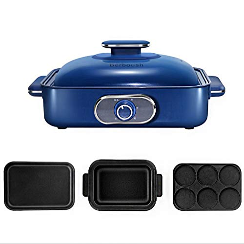 Multi-fonction BBQ Barbecue Hot Pot Double Pot, Cuisinière intégré Pot électrique de cuisson Pan électrique Barbecue électrique Hot Pot [Classe énergétique A] (Color : Red)