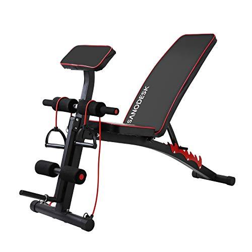 SANODESK Hantelbank, Training Fitness Bank, Multifunktion Bank mit verstellbarer Rückenlehne/Beinfixierung, für Ganzkörperübungen, Heim-Fitnessstudio HB101