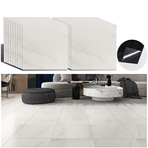 VEELIKE 12''x12'' Grey White Marble Vinyl Floor Tiles Peel and Stick Flooring Tiles Self Adhesive Waterproof Floor Vinyl Sticker Tiles Decorative for Bedroom Bathroom Kitchen Walls Basement 24 Pack