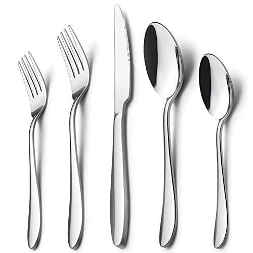 60-Piece Silverware Set for 12, HaWare Stainless Steel Flatware Cutlery Set for Home Kitchen Restaurant Hotel, Modern Ergonomic Design, Mirror Polished, Dishwasher Safe