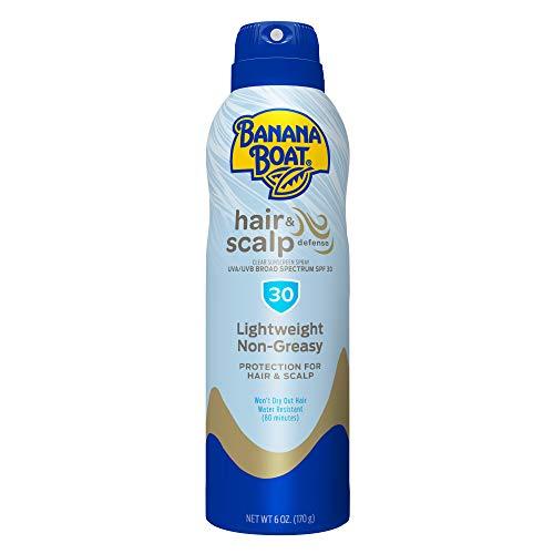 Banana Boat Hair & Scalp Defense Reef Friendly Sunscreen Spray, Broad Spectrum SPF 30, 6 Ounces, Clear