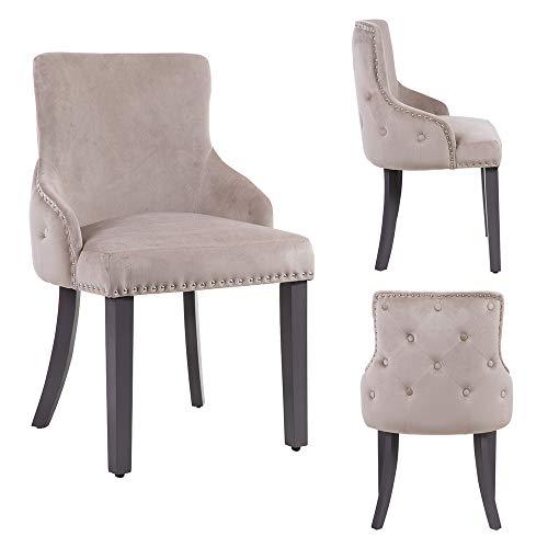 PS Global - Juego de 2 sillas de comedor de lujo Grace, fácil de montar, cromo tachuelas de montaje, parte trasera con botones profundos de terciopelo (visón)
