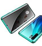 Orgstyle Funda para Huawei P30 Pro, [Anti-Spy] Absorción Magnética Cubierta Doble Cara Vidrio Templado Case Anti Espía Privacidad Cubierta Marco de Metal Protección de 360 Caso, Verde