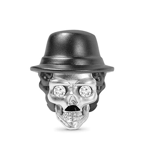 GNOCE Comic Actor Skull Charms Bead Sterling Silver Black Skull Plated Beads Charm Fit Pulsera/Collar Charm para Mujeres Hombres