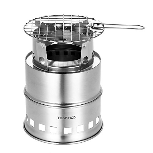TOMSHOO Camping Stove Camp Wood Stove Portable Foldable Stainless Steel Burning Backpacking Stove for Outdoor Hiking Picnic BBQ