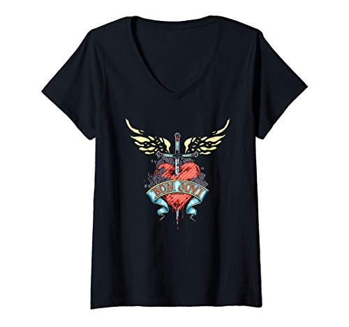 Womens Bon Jovi Daggered V-Neck T-Shirt, 3 Colors