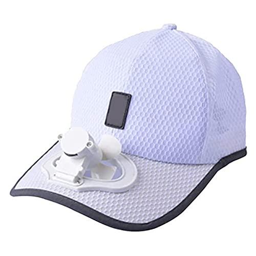 YNLRY Unisex USB Fan De Carga Gorra De Béisbol Ajustable Mini Ventilador Verano Camping Viajar Al Aire Libre Funny Gorros (Color : White)