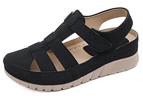SMajong Plateau Sandalen Damen Geschlossene Sandaletten Weiche Leder Mokassin Bequeme Loafers Casual Mode Vintage Frauen Schuhe B Schwarz 38 EU