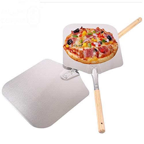 Pala de aluminio para pizza con mango de madera y orificio para colgar para pizza de 9 12 14 pulgadas, 22 x 27 cm, mango medio.