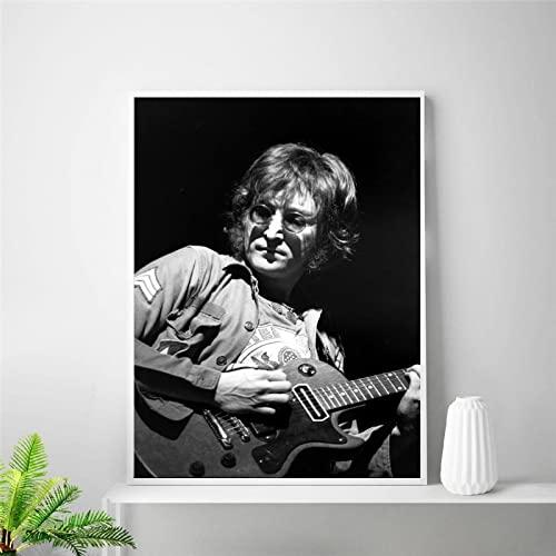 Black White Rock Music Legend Star Cantante Guitarra John Lennon Lienzo Pintura Arte de la pared Poster Boy Fans Dormitorio Sala de estar Club Decoración para el hogar Mural