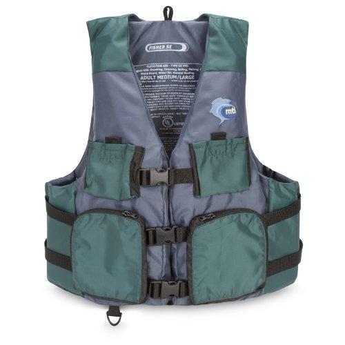 MTI Adventurewear Fisher Kayak Fishing PFD Life Jacket, Green/Gray, Medium/Large