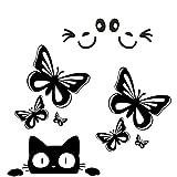JUNGEN Autocollant Sticker Ensemble de 4 pièces Visage Craquant Souriant Sticker Visage 3D Autocollant Pour Auto Voiture Côté Miroir L + R Rétroviseur Papillon Chats(noir)