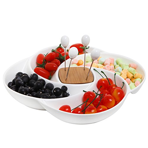 Decorative White Ceramic Appetizer Serving Platter Tray with Food Picks and Wood Holder