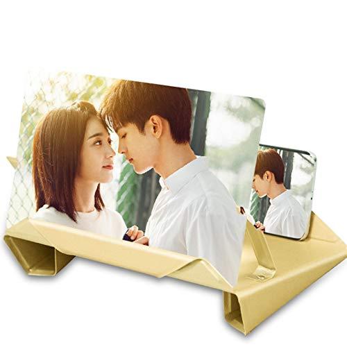 sunyu 12 Zoll 9D Falten Bildschirmlupe Ultra klar Blu-Ray Augenschutz Halterung Handydisplay-Vergrößerer Lupen(mehrere Farben) Yellow