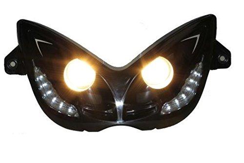 Scheinwerfer Doppeloptik/Doppelscheinwerfer mit LED Tagfahrlicht für MBK Nitro 50/100, Naked, Yamaha Aerox 50, YQ50 / 100