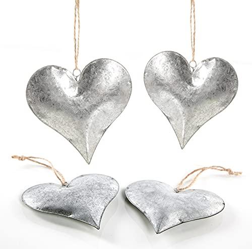 Logbuch-Verlag 4 große Herzanhänger aus Metall Silber glänzend - Deko Herzen zum Aufhängen - Metallanhänger als Frühlingsdeko Hochzeitsdeko