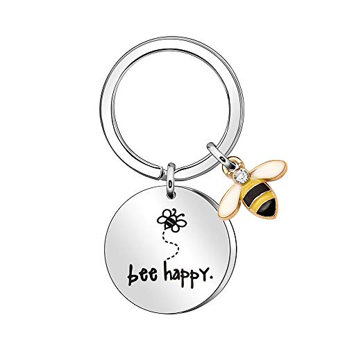 Women's Keyring' Bee Happy' Keyring Keychain, Gift for Mum, Aunt, Daughter, Niece, Friends (Silver)
