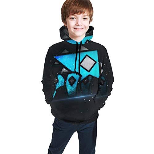 Sudaderas con Capucha Sudaderas Manga Larga Azul Geo-Me-Try Dash Juventud con Estampado Completo Sombrero Informal Bolsillo Suéteres Suéteres Niños Niñas