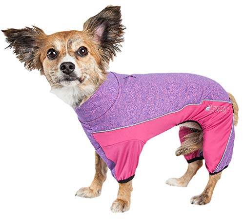 Pet Life Active Chase Pacer Heathered Performance 4-Way Stretch Two-Toned Full Body Warm Up, X-Small, Purple