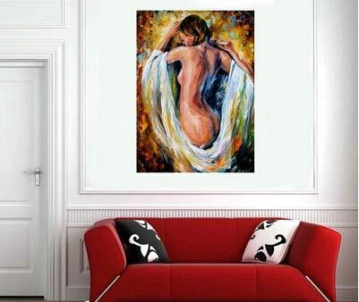 wZUN Pintura al óleo Chica en el baño Arte de la Pared Abstracto decoración del hogar 40x60 Sin Marco