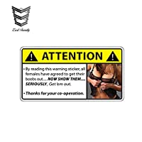 ヘッドフォン13センチ×6.7センチメートルビニールステッカーグラフィック警告ステッカージョークガール面白いセクシーな車のアクセサリーからそれらを取り出す