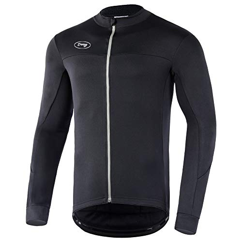 Dooy Men's Cycling Bike Jersey Winter Thermal Biking Shirt Long Sleeve Bicycle Jacket with Full Zipper and Rear Pockets(New Black,Large)