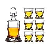 ESGT Decanter per Whisky in Cristallo, con 4 Bicchieri in Confezione Regalo, Set di Decanter per Whisky, con Bicchieri per Liquori, Scotch, Bourbon, Whiskey Decanter da Uomo