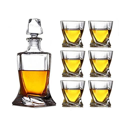 Juego De Decantador De Whisky De Cristal, Decantador De Bourbon con 4 Vasos En Caja De Regalo, Juego De Decantador De Whisky con Vasos para Licor, Whisky, Whisky