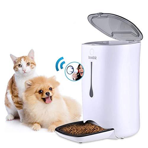 Iseebiz 7 L Futterspender, automatisch, Tier-Aufnahme, 10 Sekunden, 4 Mahlzeiten, LCD-Display, Timer, programmierbar, für kleine oder mittelgroße Hunde