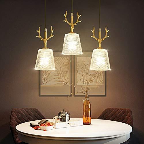 RongDuosi LED-lamp, creatief, goudkleurig, spin, restaurant van koper, modern, eenvoudige drie Scandinavische eetkamertafel, bar-lampen, Amerikaanse spin, 300 x 270 mm