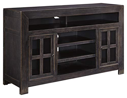 """Signature Design by Ashley Gavelston Rustic TV Stand with Fireplace Option, Fits TVs up to 58"""", Black"""