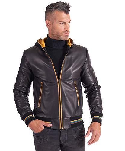 D'Arienzo Chaqueta de cuero tipo bombardero con capucha para hombre, color negro italiano, forro de contraste de cuero genuino fabricado en Italia BIANCOLINO